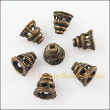 15Pcs Antiqued Bronze Tone Horn Flower End Bead Caps Connectors 7.5mm