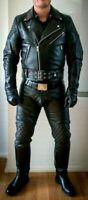 Men's Black Cowhide Leather Trouser Bikers Pants Cuir Schwarz Padded Rear Zip