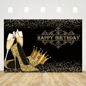 Large Happy Birthday Backdrop Banner Photography Background Black Gold Crown ^