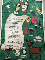 Vintage Irish Linen Tea Towel Large.Irish Whiskey Coffee Recipe .Ireland 21x31