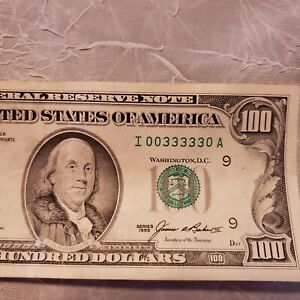 1985 $100 Serial Number - I00333330A - fancy duece repeater binary USC Hundred