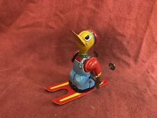 Vintage 1950s  MARX Tin Toy Wind Up SKI Skier Duck