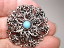 LOVELY ANTIQUE SILVER FILIGREE TURQUOISE PIN/BROOCH!