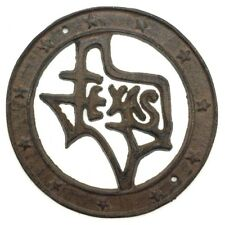 Cast Iron  TEXAS the Lone Star State Wall Plaque Round Country Western Man Cave