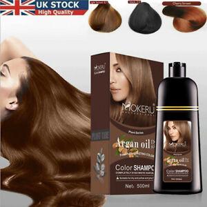 500ml Mokeru Instant Care Hair Colour Dye Shampoo Natural black/Brown Permanent