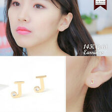 14K Solid Yellow Gold Initial J Shape Stud a Pair of Earrings w/ Silicone plugs