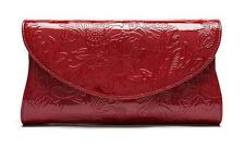 S&Y Patent Red Leather Clutch Purse Embrossed Crossbody Bag Luxury Party Handbag
