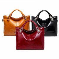 Women Shoulder Bag Oil Wax Faux Leather Handbag Ladies  Fashion Casual Work Bag