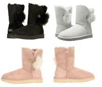 NEW UGG Australia Women's Irina Crystal Pin Pom Pom Boots Shoes Black Pink Grey