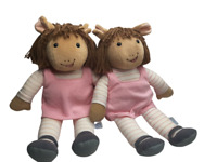 Lot of 2 Vintage Marc Brown 1996 Eden Doll Arthur's Sister PBS Plush Twins