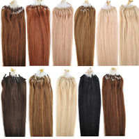 """New 18/20/22"""" 50g 100S Micro Ring Loop Beads Tipped Remy Human Hair Extensions"""