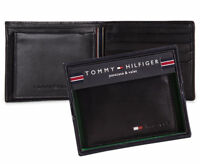 Geniune New Tommy Hilfiger Black Leather Mens Stockton Billfold Wallet GIFT BOX