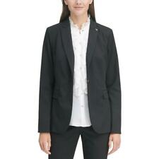 Tommy Hilfiger Womens Black-Ivory One-Button Blazer...
