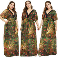 Women's Short Sleeve Loose Maxi Dress Holiday Beach Boho Printed Summer Sundress