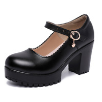 Sexy Women High Thick Heel Platform Pumps Ankle Strap Buckle Work Office Shoes