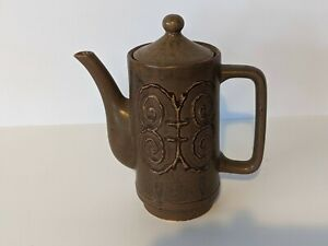 Vintage Mid Century Japanese pottery coffee pot brown glaze abstract design