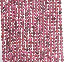 """3MM  RED GARNET GEMSTONE GRADE AAA MICRO FACETED ROUND LOOSE BEADS 15.5"""""""