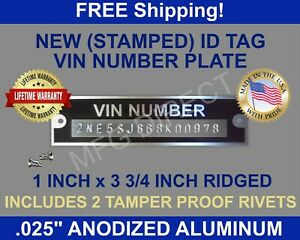 Stamped DATA PLATE Serial VIN Tag Ford Chevy Dodge Plymouth Others New ID USA