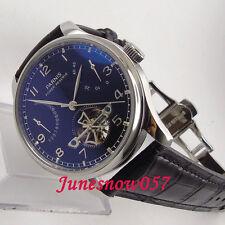 Parnis 43mm black dial date power reserve deployant clasp Automatic men's watch