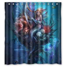 Blue Underwater Sea Mystical Mermaid Jelly Fish Fabric Bathroom Shower Curtain