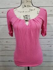 White House Black Market Womens XXS Pink Keyhole Neck Stretch Short Sleeve Top