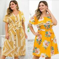 Party Plus Size Maxi Evening Summer Floral Beach Sundress Dress Boho Womens