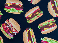 Hamburgers Burger BigMac Bacon Cheese Burger Fast Food Face Cotton Fabric 18X18""