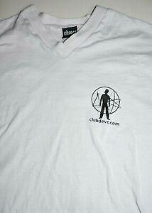 DEVO t shirt V neck medium vintage 2000 Club Devo Mark Mothersbaugh rare white