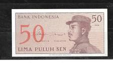 INDONESIA #94a 1964 OLD UNCIRCULATED VINTAGE 50 SEN BANKNOTE NOTE PAPER MONEY