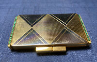Vintage Art Deco Jeweled Compact Powder Mirror Vanity Made In France Rectangle