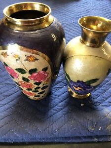 Two Vintage brass Vases Overlaid With Enamel Made In India
