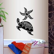 Vinyl Decal Sea Turtle and Star Fish Tribal Pattern Bedroom Wall Art Sticker 934