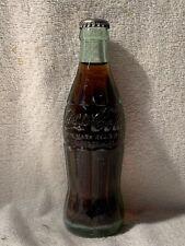 FULL 6oz COCA-COLA HOBBLESKIRT EMBOSSED SODA BOTTLE RALEIGH, N.C.