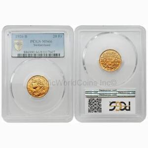 Switzerland 1926 B 20 Francs Gold PCGS MS66