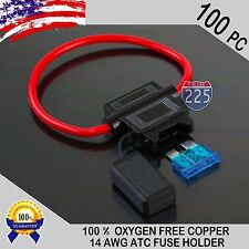 100 Pack 14 Gauge ATC In-Line Blade Fuse Holder 100% OFC Copper Wire + 1A - 40A