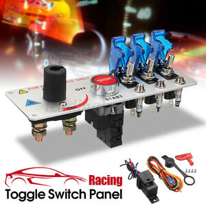 UK 12V Auto LED Toggle Ignition Switch Panel Racing Car Engine Start Push Set