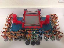 WWF Hasbro Royal Rumble Mini Ring Lot Bases Figure Joysticks WWE Wrestling WCW