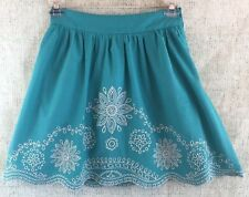 Flying Tomato Women's Skirt Boho Turquoise Green Floral Embroidered Size M