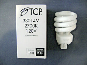 TCP 14W 2700K Mini Spiral 4-Pin Plug In Lamp G24q-1 Base CFL Light Bulb 33014M