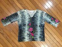 JOSEPH A Silk Blend V Neck 3/4 Sleeve Top Blouse Size M