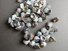 Czech glass pressed bell flower white rainbow 6 X 8 mm pack of 20