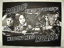 Peinture sur toile Retour vers le futur film routes cite N&B 16x12 pouces acrylique