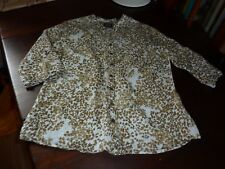 MAINE NEW ENGLAND SIZE 16 WHITE/BROWN LEAFY/FLORAL PRINT 3/4 SLEEVE BLOUSE