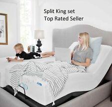Adjustable Split King Size Electric Bed Frame Base Massage 2 Remotes Medical USB