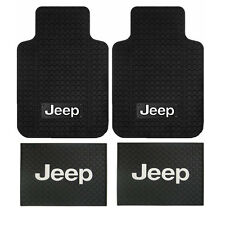New Jeep Factory Logo All Weather Heavy Duty Rubber Front / Back Floor Mats Set