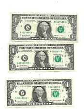 2017  A-B-F-H & K Series $1 One Dollar Bill Star Note, Rare Lot of 5, circulated