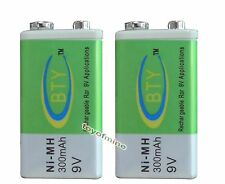 2x Durable 9V 9 Volt 300mAh BTY Green Ni-Mh Rechargeable Battery PPS block
