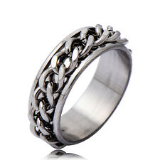 Wholesale Vintage Biker Chain Solid Stainless Steel Spin Band Ring Size 8.5