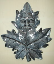 Nature Spirit Maple Leaf Face Green Man Wall Relief