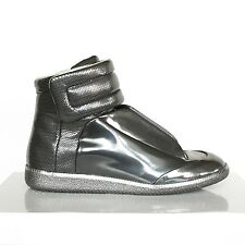 MAISON MARTIN MARGIELA gunmetal silver shoes hi-top Future sneakers 46 / 13 NEW